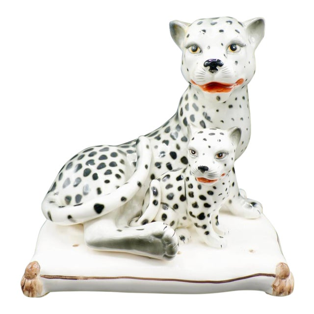 Italian Hand-Painted Snow Leopards For Sale