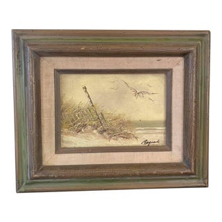Late 20th Century Original Signed Bird on Beach Canvas Painting For Sale