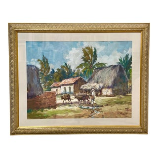 Vintage Mexican Watercolor Man With Burros Listed California Artist For Sale