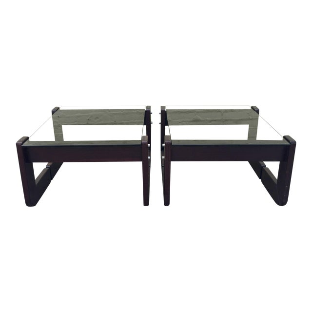 Smoked Glass & Rosewood Side Tables by Percival Lafer For Sale