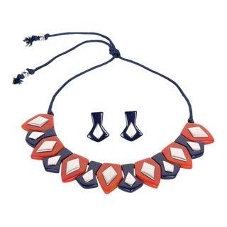 1970s Yves Saint Laurent Bakelite Necklace Earrings Set Limited Edition For Sale