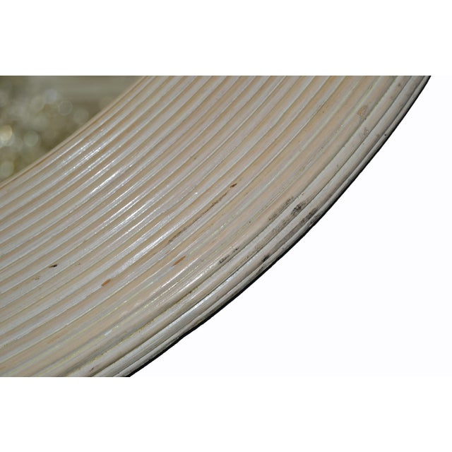 Mid-Century Modern Round Handmade White Washed Pencil Reed Wall Mirror For Sale - Image 9 of 13