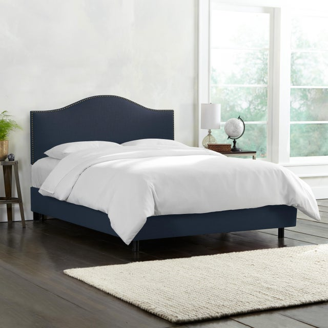 Contemporary Linen Navy Queen Nail Button Bed For Sale - Image 3 of 8