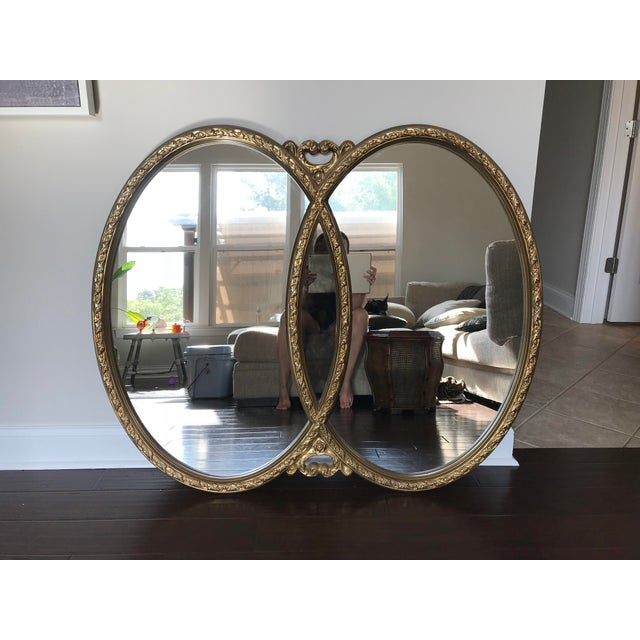 1970s 1970s Hollywood Regency Double Interlocking Gilt Mirror For Sale - Image 5 of 6