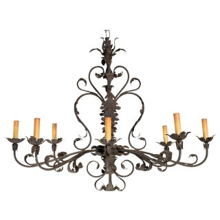 Large Floral Iron Chandelier For Sale