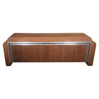 1970s Art Deco Brushed Aluminum and Twine Credenza For Sale
