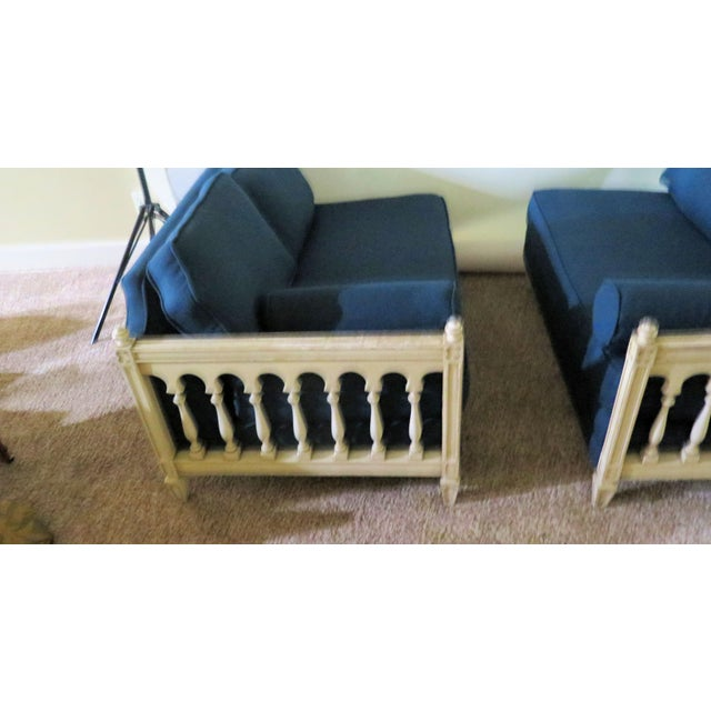 Distressed Frame Royal Blue 2 Piece Sofa For Sale In Boise - Image 6 of 9