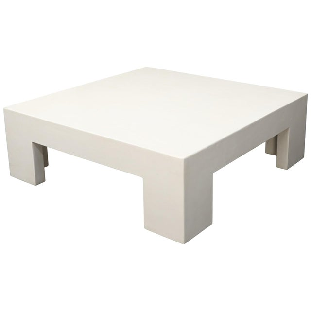 Robert Kuo Large Square White Enamel Lacquer Coffee Table For Sale - Image 13 of 13