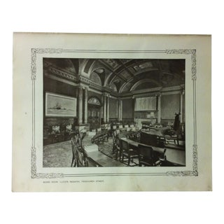"""1906 """"Board Room - Lloyd's Registry - Fenchurch Street"""" Famous View of London Print For Sale"""