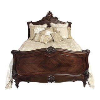 19th Century French Louis XV Rosewood Queen Bed For Sale