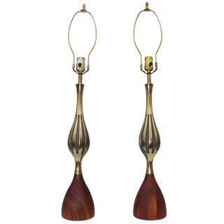 Tony Paul Mid-Century Modern Brass and Walnut Table Lamps For Sale