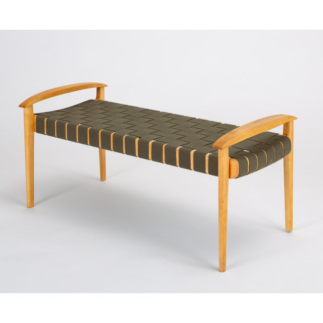 American-Made Maple Bench With Woven Seat by Tom Ghilarducci For Sale - Image 13 of 13