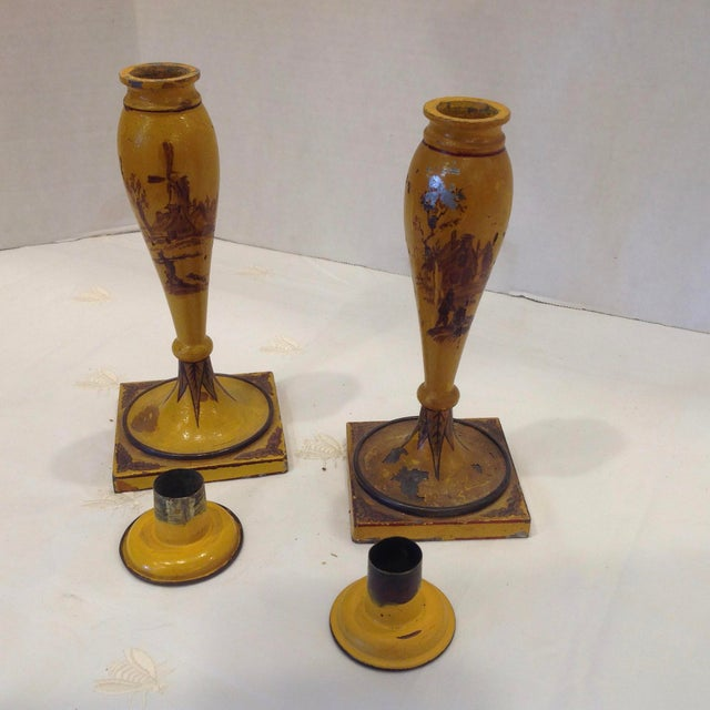 19th Century French Tole Candlesticks - a Pair For Sale - Image 9 of 13