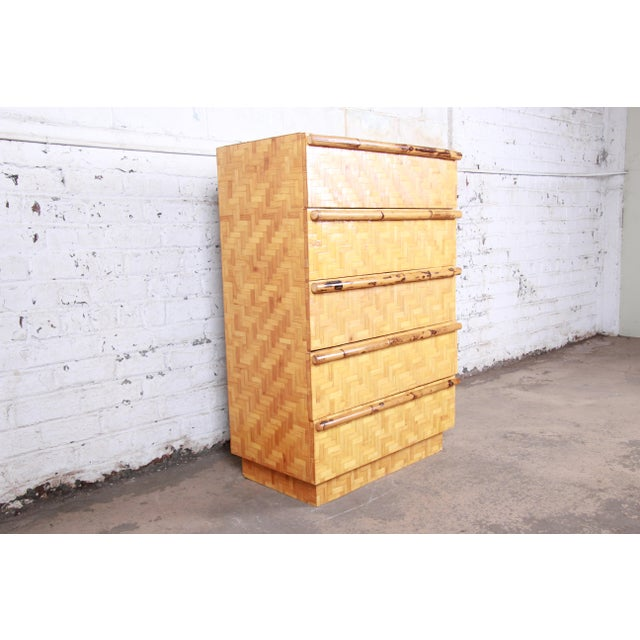 Mid 20th Century Mid-Century Modern Hollywood Regency Chinoiserie Bamboo Parquetry Highboy Dresser For Sale - Image 5 of 12