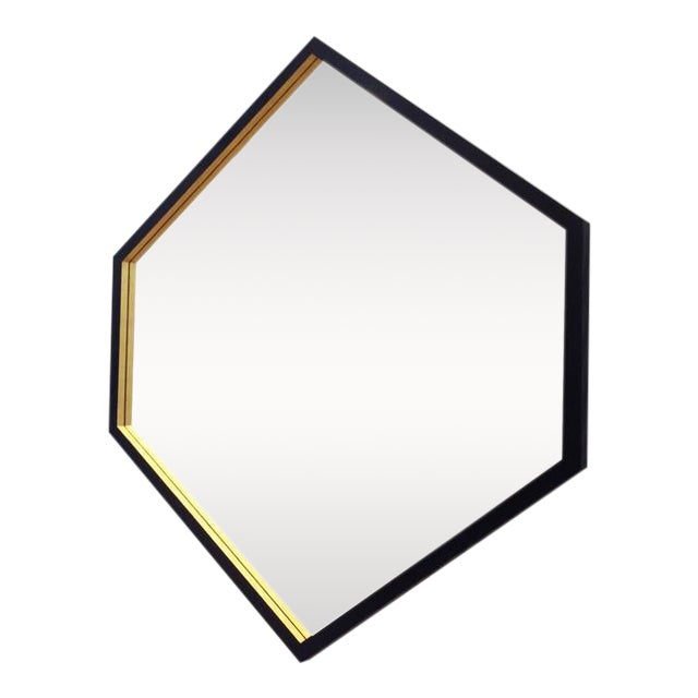 Hex Gilt and Laquered Geometric Mirror by Alex Drew and No One For Sale