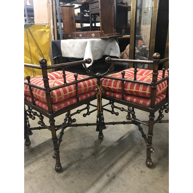 Metal 1980s Vintage Faux Bamboo Iron and Brass Bench For Sale - Image 7 of 9