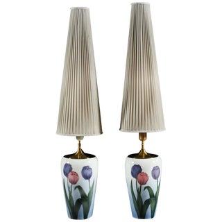 Bing & Grondahl Danish Tulip Porcelain Lamps - A Pair