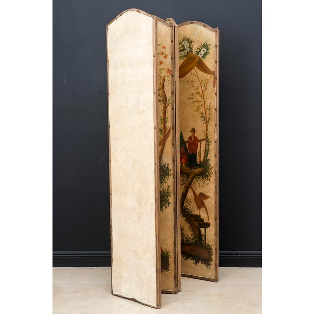 Paint Vintage Chinoiserie Four-Panel Painted Screen on Board For Sale - Image 7 of 11
