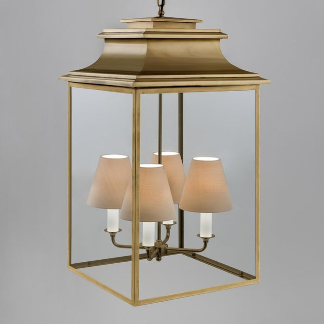 Antique brass lantern with 4 lamps made in nickel plated brass with clear glass. Clear LED or halogen lamps recommended....