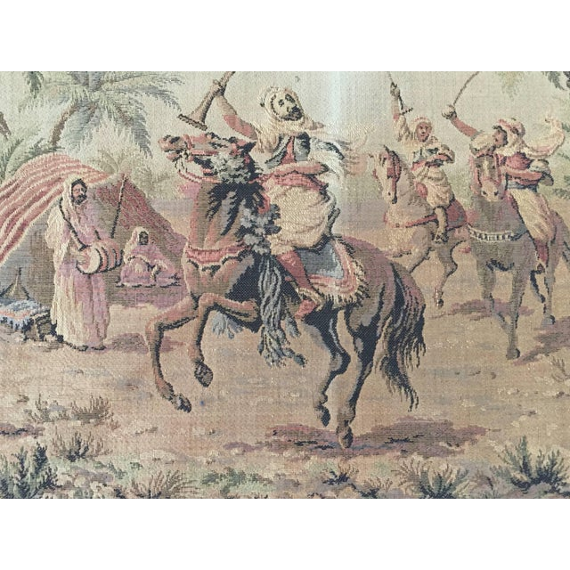 Wool tapestry with orientalist Arab on horse hunting scene, brown antique look colors. Textile with Berber Nomadic tent in...