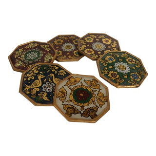 Vintage Peruvian Reverse Painted Glass Gold Gilded Drink Coasters - Set of 6