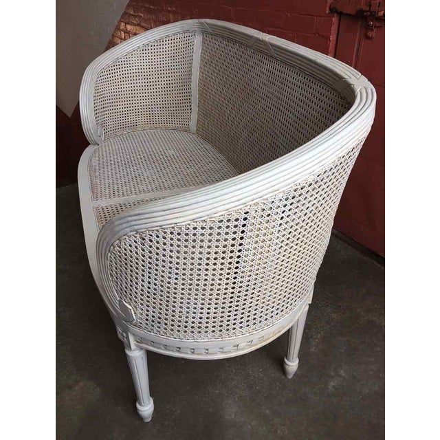 Wood Late 20th Century White Caned Settee For Sale - Image 7 of 10
