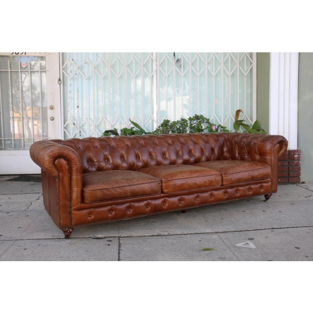 2010s Modern Distressed Leather Tufted Chesterfield Sofa For Sale - Image 5 of 13
