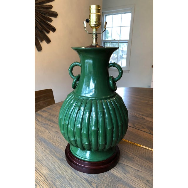 Green Faux Bamboo Lamp For Sale - Image 11 of 11