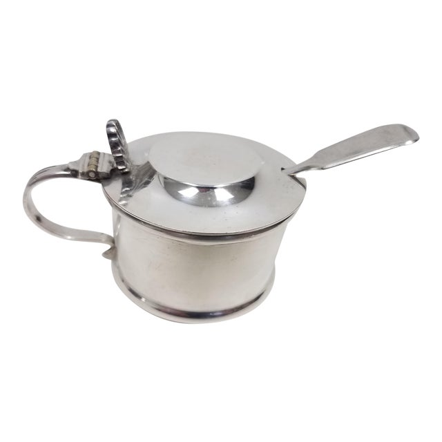 Antique Silverplate Mustard Pot With Spoon - 2 Pieces For Sale