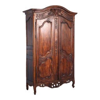 18th Century Antique Carved French Oak Armoire For Sale