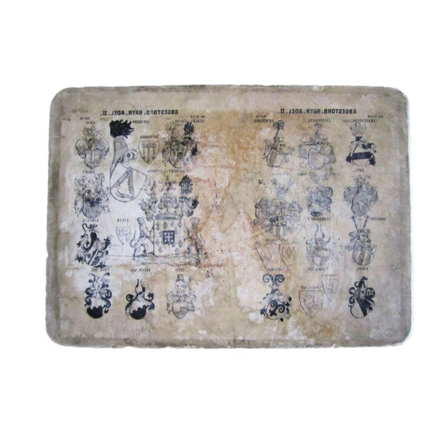 Rustic Printed Crests Stone Blocks - Set of Two For Sale - Image 3 of 5