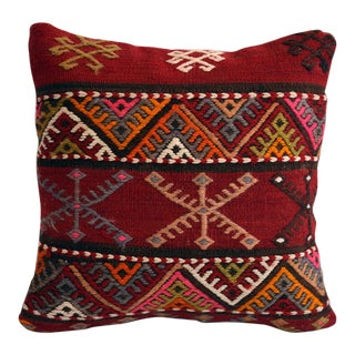 "16"" Vintage Handmade Kilim Rug Pillow Cover With Insert"