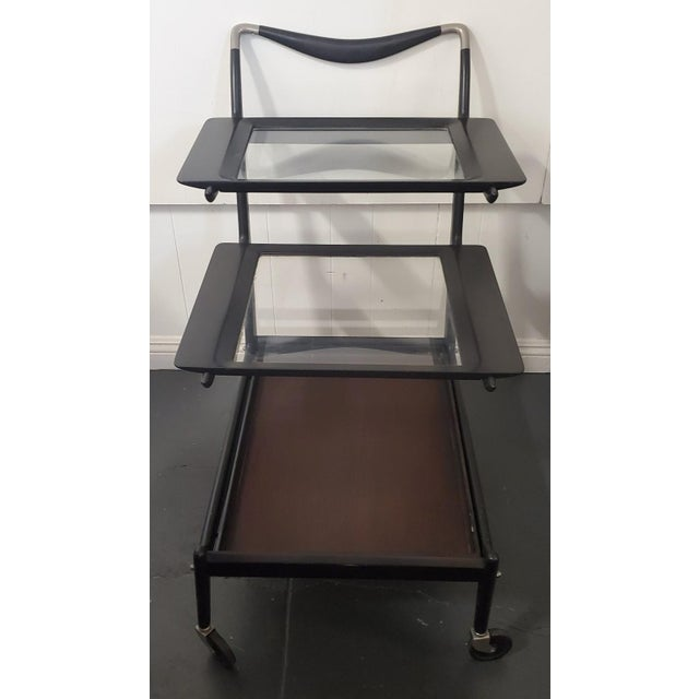 1950s Italian Modern Tea Trolly Bar Cart by Cesare Lacca For Sale In Los Angeles - Image 6 of 7