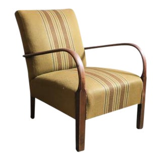 Olive Striped Armchair