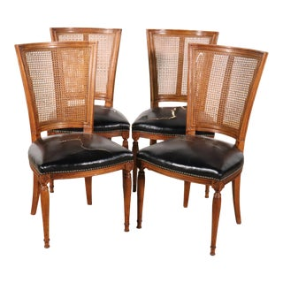 Set of 4 Cane Back French Louis XVI Distressed Leather Dining Chairs For Sale