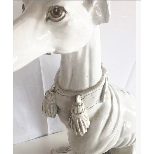 Large Scale Vintage Italian Whippet Dog Sculpture With Tassel Collar Sitting on Pillow For Sale - Image 9 of 13