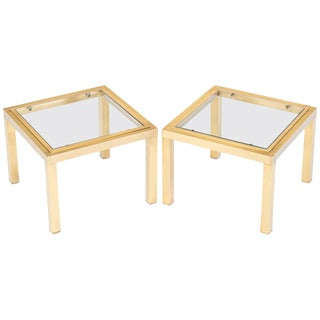 Mid-Century Modern Brass Side Tables - A Pair For Sale