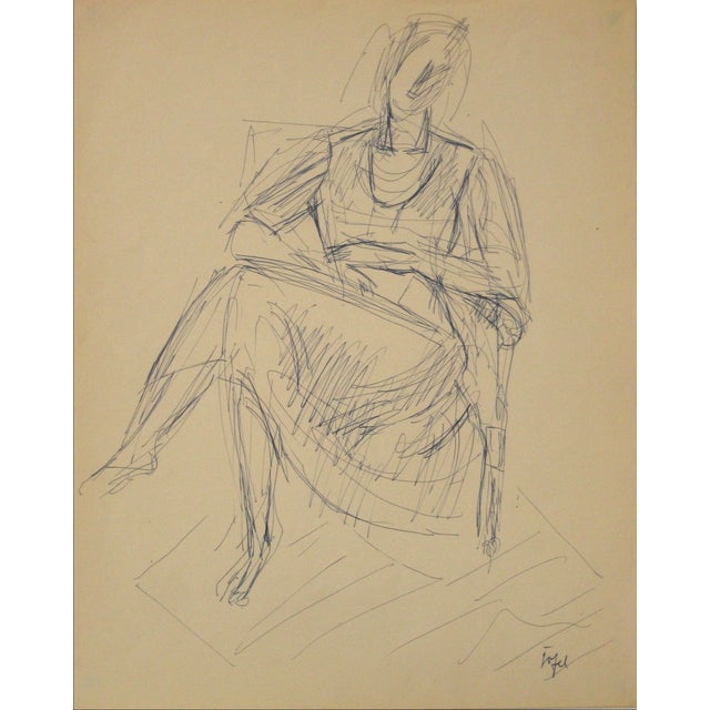 Jennings Tofel Ink on Paper Portrait For Sale