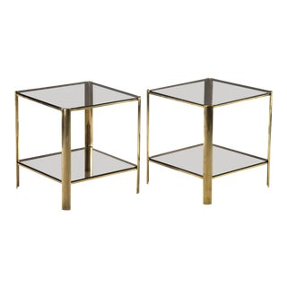 Pair of Signed European Brass and Glass Two-Tier End Tables