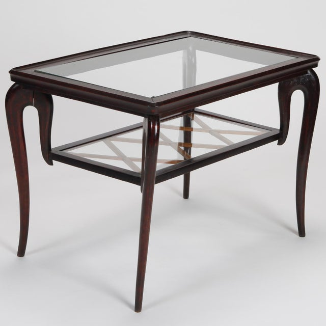 Antique Art Deco Tiered Walnut Glass Side Table - Image 5 of 11