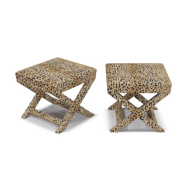 Contemporary X Bench in Leopard For Sale - Image 3 of 4
