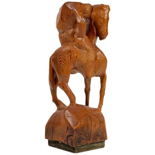 """Horse & Weary Rider"" Large Abstract Carved Wood Sculpture For Sale"