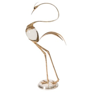 Franco Lafini Crane Sculptures, Gold Gilt & CrystalEgg Body C. 1970 For Sale