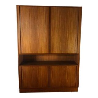Poul Hundevad Large Teak Tambour Door Cabinet / Bookcase - Mid Century Danish For Sale