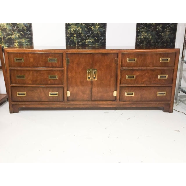 This massive and classic mid century Drexel Heritage campaign style chest of drawers takes on many uses.... Dresser,...