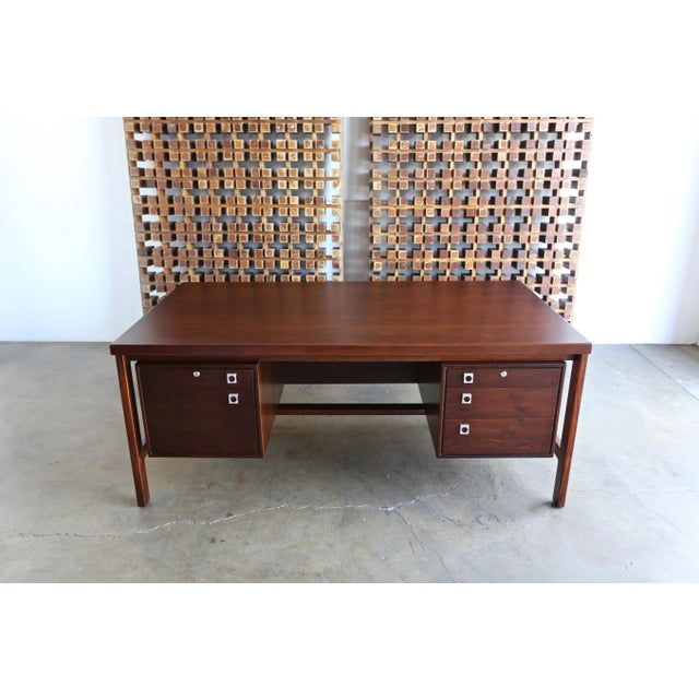 Rosewood Mid Century Arne Vodder for h.p. Hansen Rosewood Executive Desk For Sale - Image 7 of 10