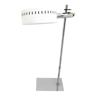 White Enameled Metal Adjustable Table Lamp by Robert Sonneman, 1970s For Sale
