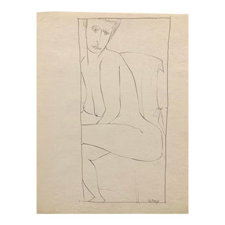 """Donald Stacy """"Looking Over Shoulder"""" 1951 Ink Mid Century Nude Drawing For Sale"""