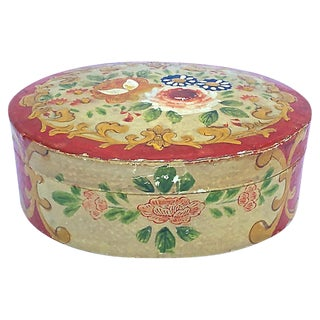 Early 20th Century Antique Japanese Papier-Mâché Floral Box For Sale