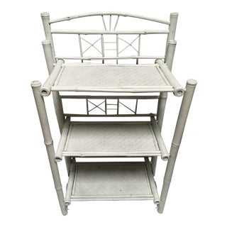 Vintage White Rattan Shelving Unit For Sale